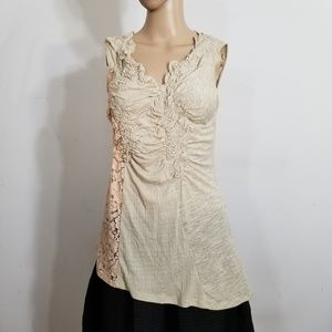 Anthropologie C. Keer Lace Knit Ruched Top Small